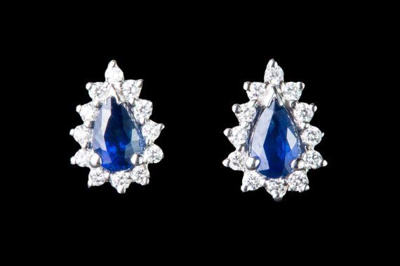 Sapphire drop surrounded by diamonds  earrings