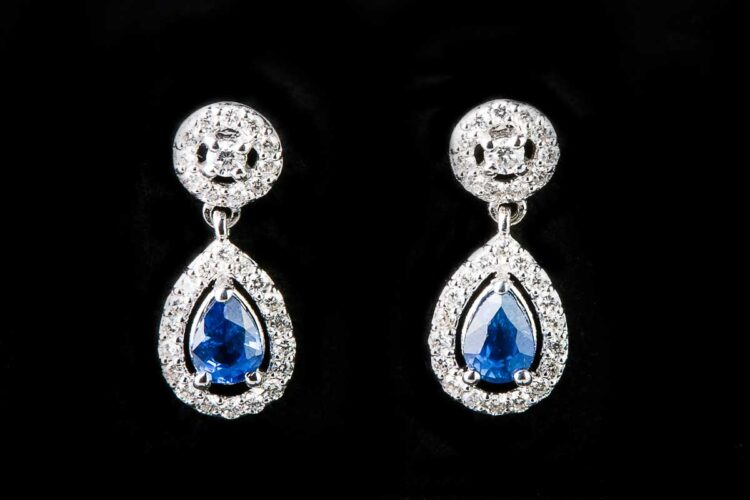 Sapphire drop surrounded by diamonds with diamond round earrings