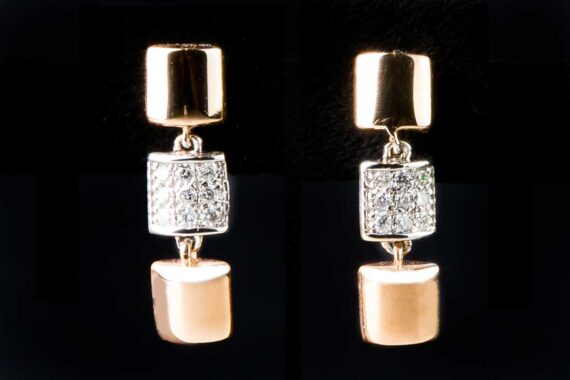 three squares with diamonds in the middle earrings